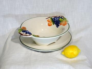 Obst-Abtropf-Schale mit Teller, Trauben-Motiv, Relief