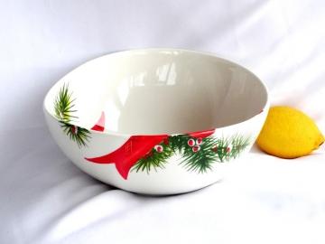 Schüssel Weihnachtsdekor, Ø 23 cm, rote Schleifen