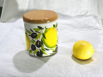 Dose mit Holzdeckel Limone Olive